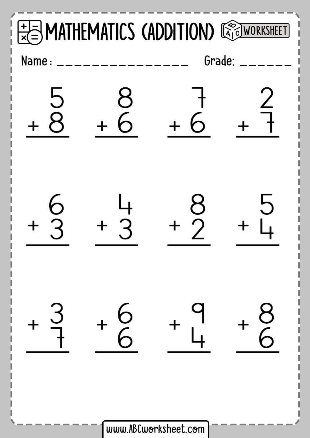Addition Worksheet First Grade   Addition worksheets [ 1414 x 1000 Pixel ]