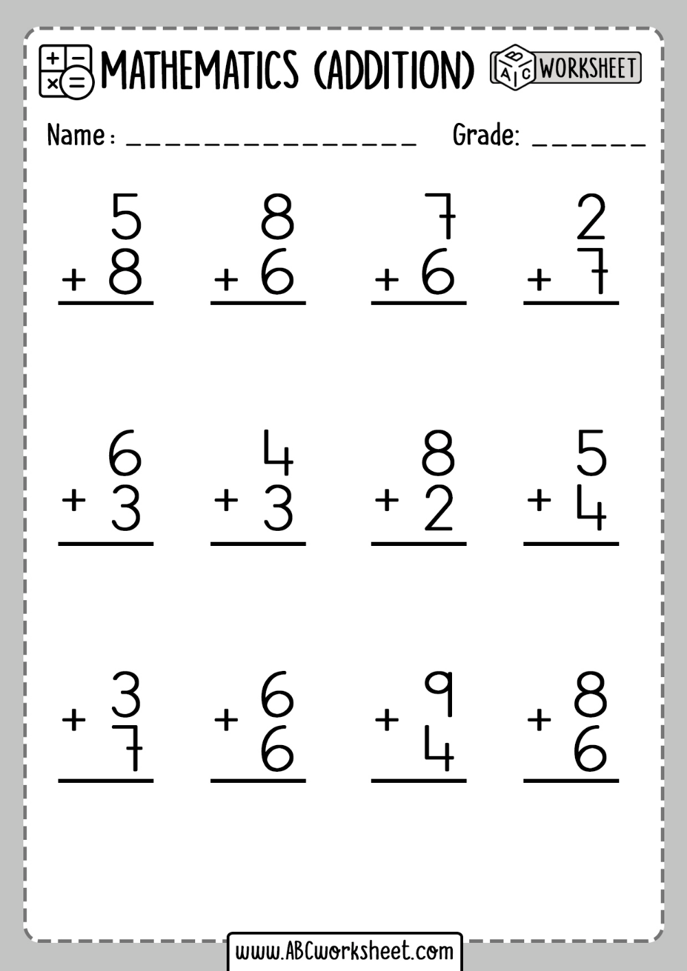 medium resolution of Addition Worksheet First Grade   Addition worksheets