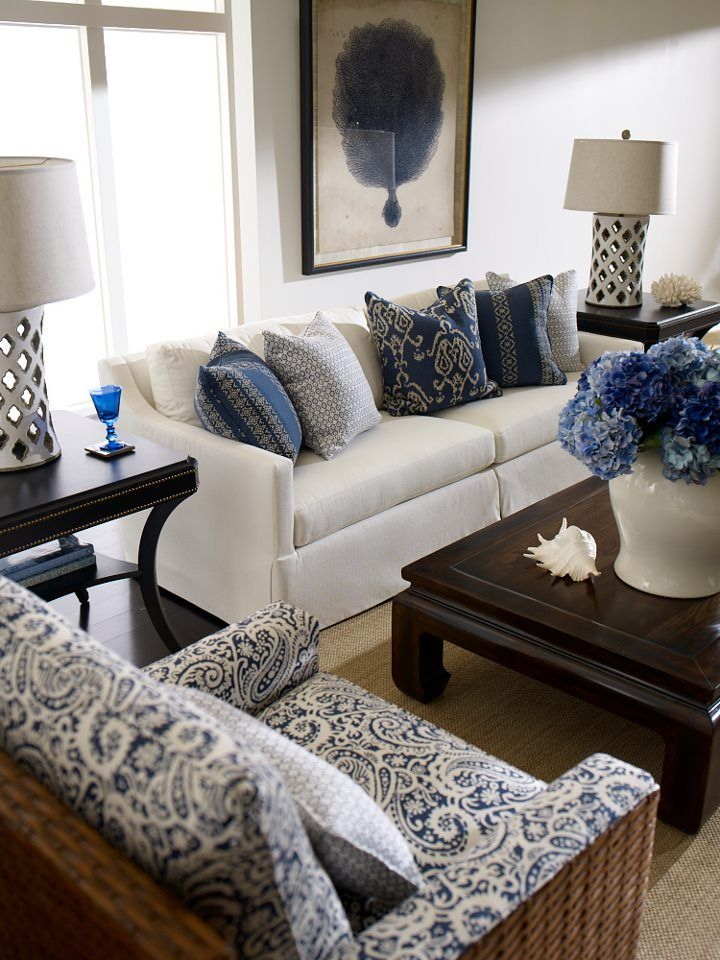 Ethan Allen Nautical Living Room- all blue but great mix of hues and