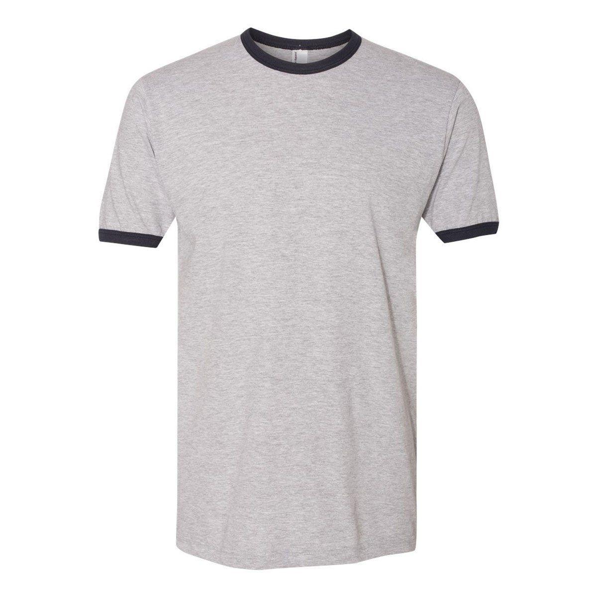 Download American Apparel Unisex Heather Grey Navy Fine Jersey Ringer T Shirt American Apparel American Shirts Shirt Design Inspiration