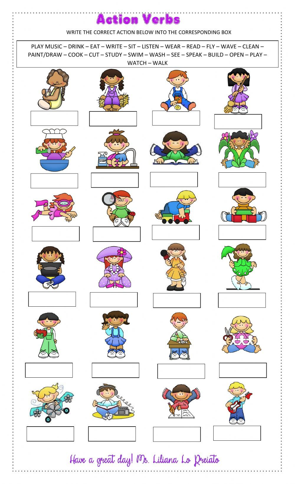Action Verbs Interactive And Downloadable Worksheet You Can Do