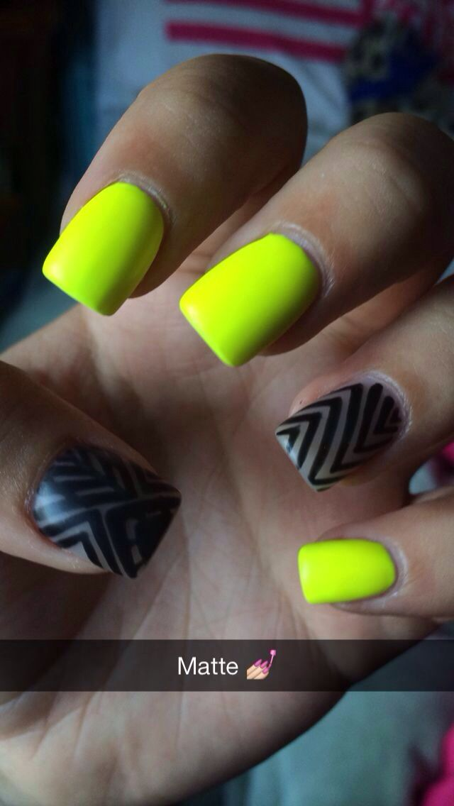 Matte neon yellow nails with black design on bare nail cute and ...