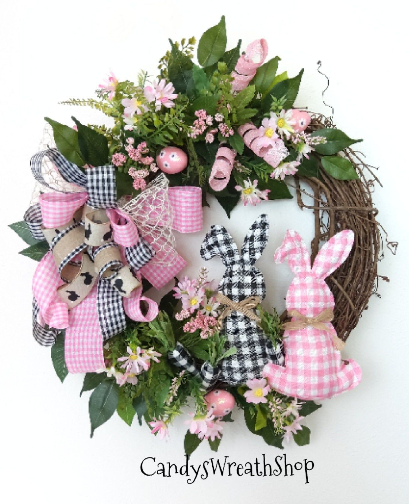 Photo of Easter wreath, spring wreath, Easter vine, rabbit wreath, spring flower, peasant wreath, welcome wreath, buffalo plaid, rabbit wreath