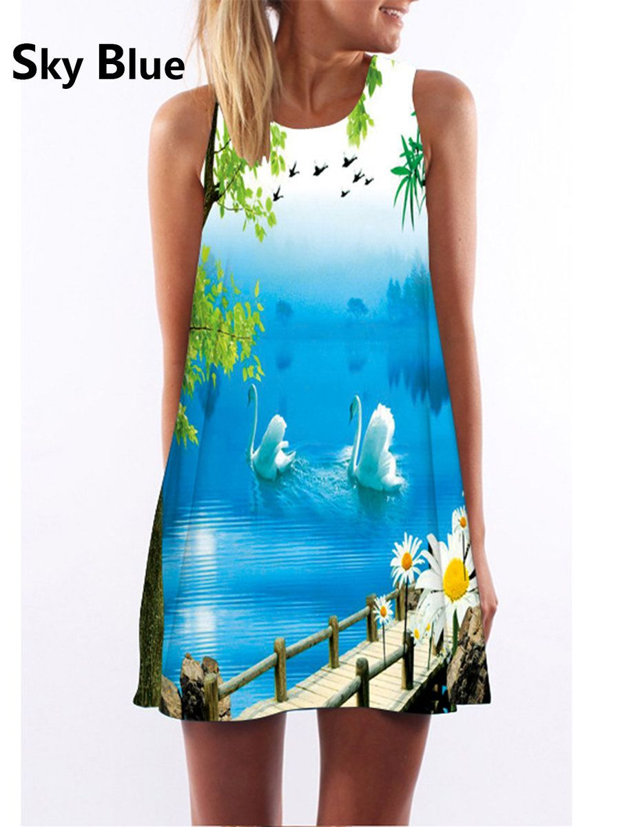 Popjulia crew neck going out dress sleeveless cotton printed dress