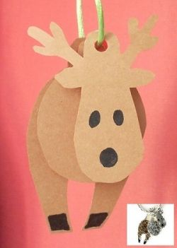 Reindeer paper craft ornament.Use small pieces of a drinking straw to separate the pieces; template included