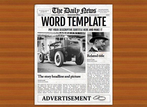 Vintage Word Newspaper Template Newspaper Template Vintage Words Newspaper Template Word