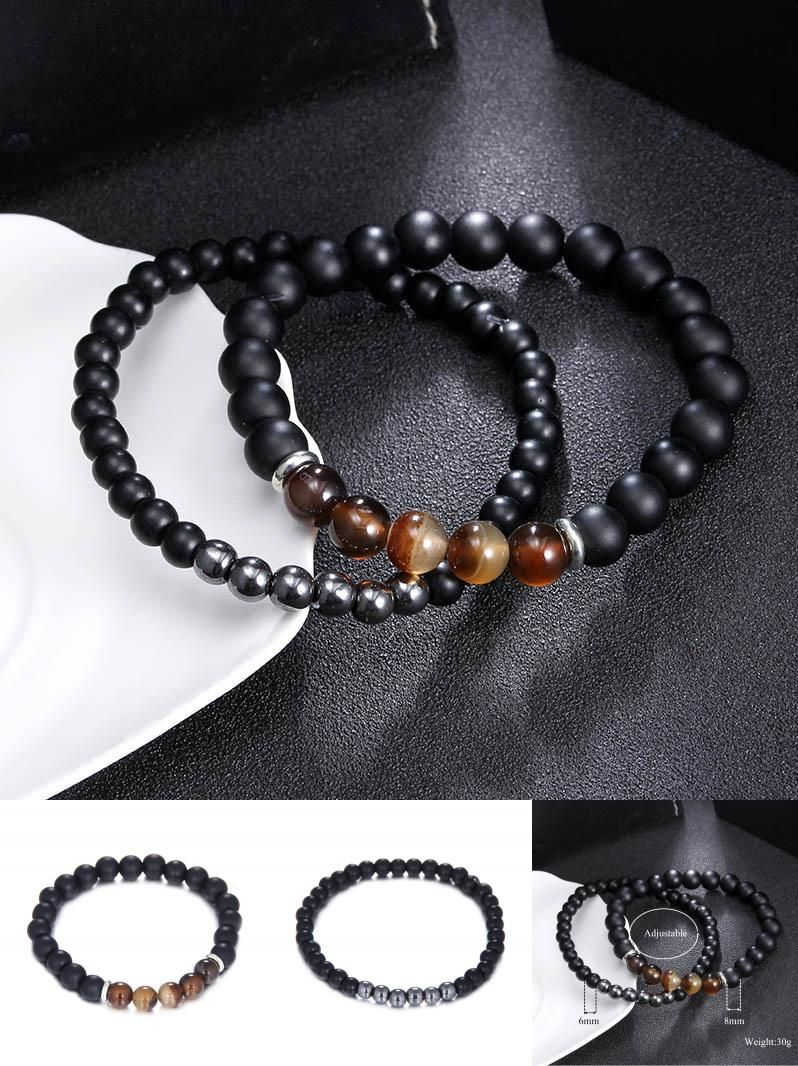 Visit to buy pcs mm dull polished black stone and steel bead