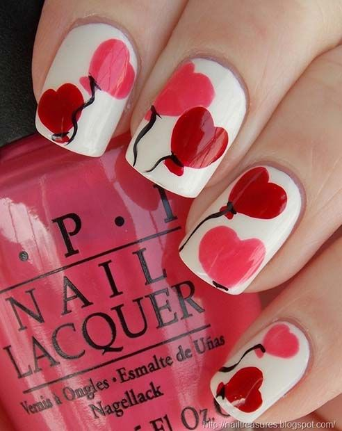 21 Cute Valentine\'s Day Nail Ideas | Heart balloons, Almond shape ...