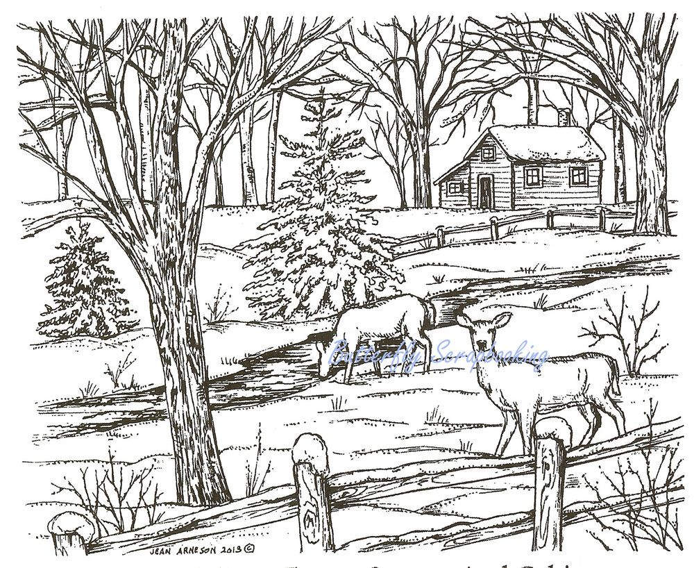 Details About Winter Deer Cabin Scene Wood Mounted Rubber Stamp