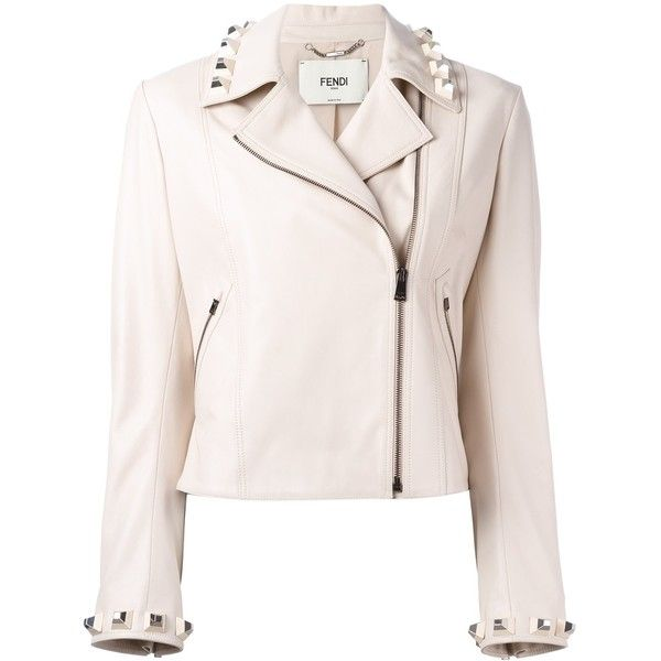 Fendi studded leather cropped jacket (12.115 BRL) ❤ liked on Polyvore featuring outerwear, jackets, nude, real leather jackets, fendi, studded jacket, 100 leather jacket and pink leather jacket