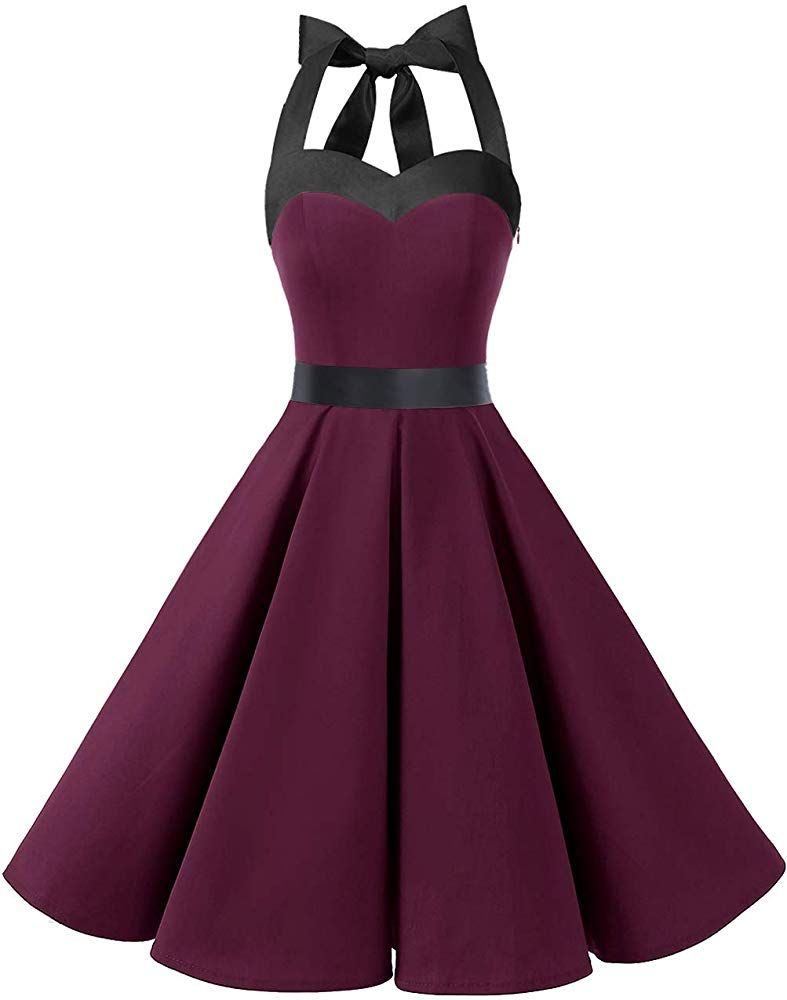 DRESSTELLS 20s Retro Halter Rockabilly Bridesmaid Audrey Dress