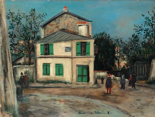 Maurice Utrillo >> The pink house in Montmartre