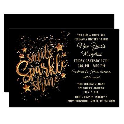 black gold new year open house party invitation invitations custom unique diy personalize occasions