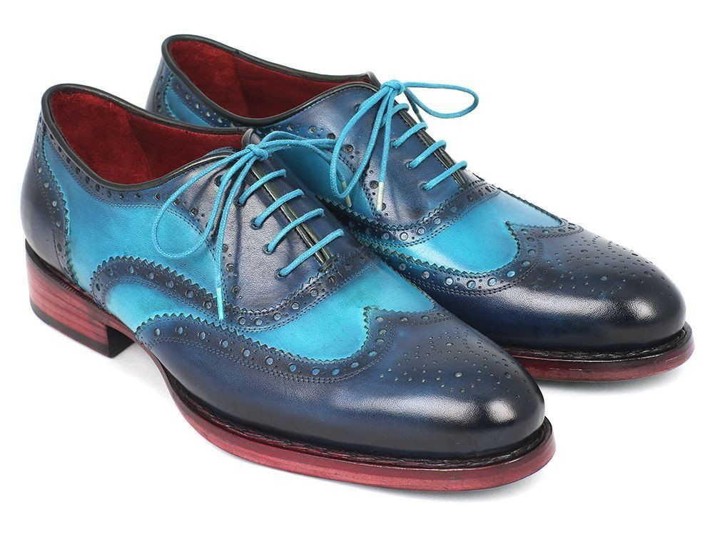 $675.00 Paul Parkman Men's Two Tone Wingtip Oxfords Blue & Turquoise (ID#27TQ88)