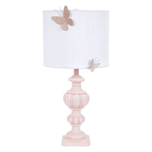 Good Jubilee Collection Pink Urn One Light Table Lamp With White Drum Shade And  Pink Butterfly Magnet