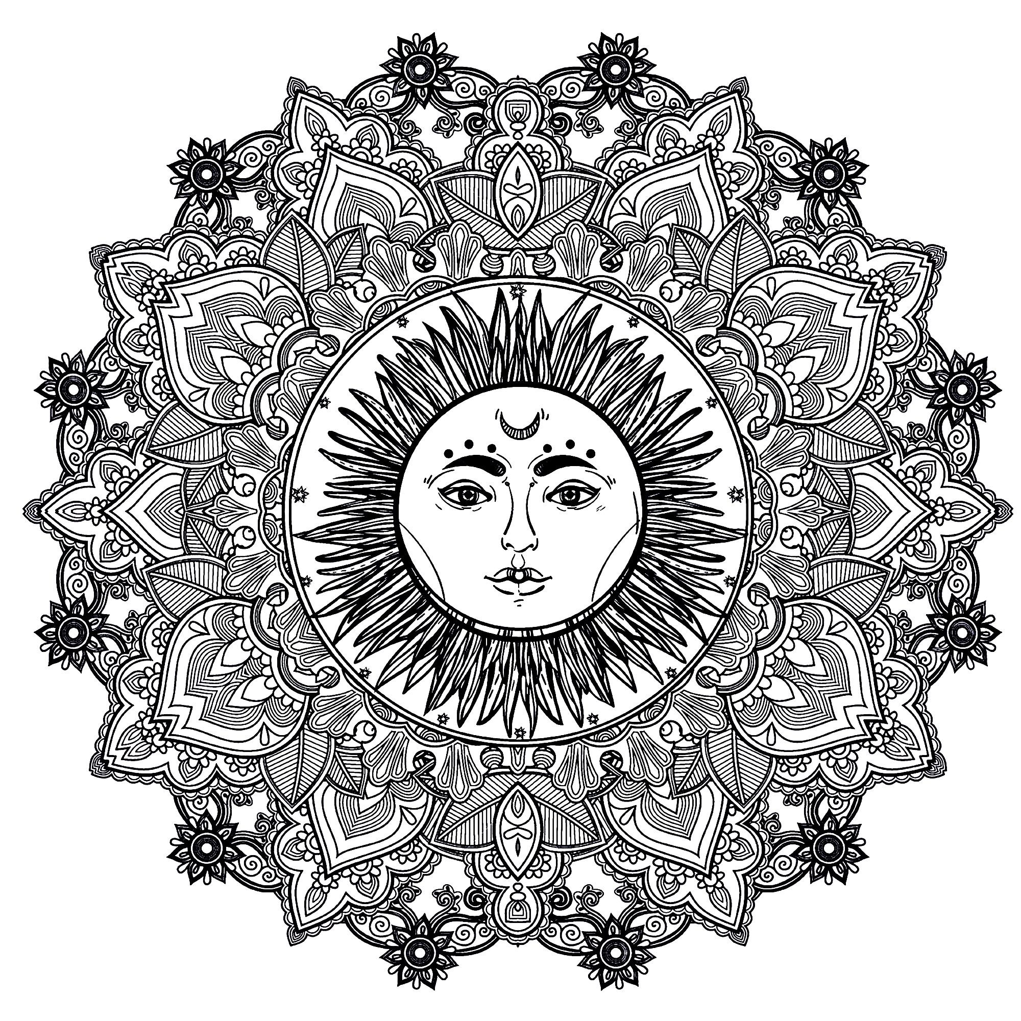 Mandala To Color With Beautiful Sun In Center From The Gallery Mandalas Mandala Coloring Pages Mandala Coloring Books Sun Mandala