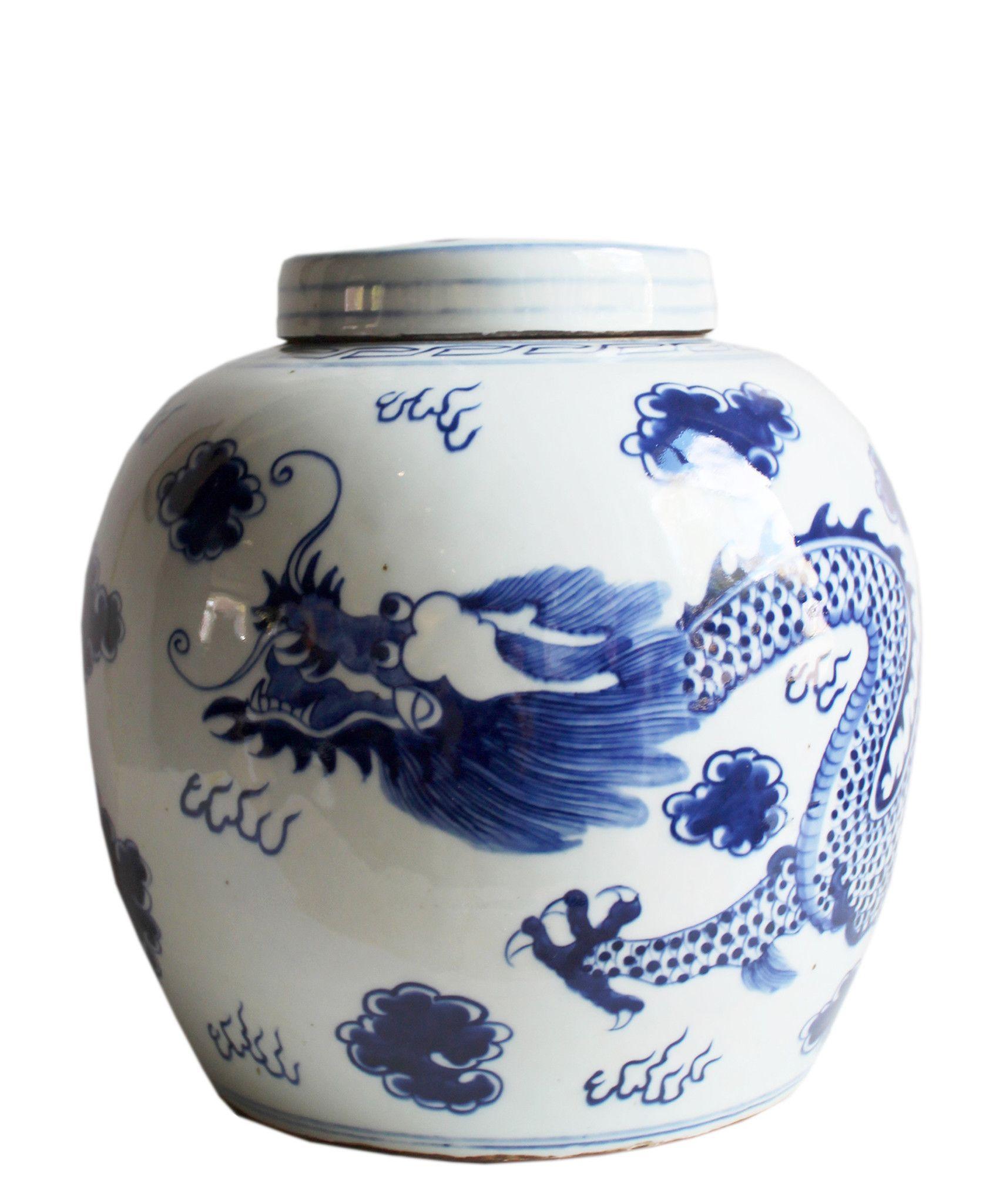 Blue White Ginger Jar 13 Dragon Large