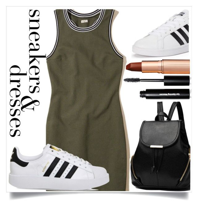 """""""Sneakers and Dresses!"""" by ashaleethornt ❤ liked on Polyvore featuring Hollister Co., adidas, Charlotte Tilbury and Bobbi Brown Cosmetics"""