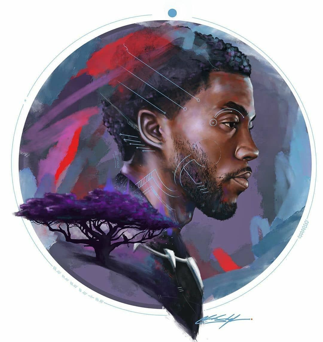 "Dope Black Art ® on Instagram: ""🙅🏾‍♂️ Forever. Thank you Chadwick Boseman. 🎨 #Dopeblackart by @chuckstyless *Artwork not for sale. #photography #art #blackart …"""