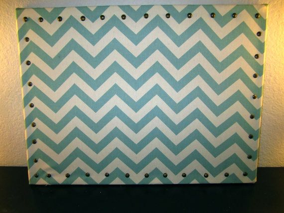 Light Blue Chevron Print Fabric Covered Cork Board With Stud Detail  Back  To School,