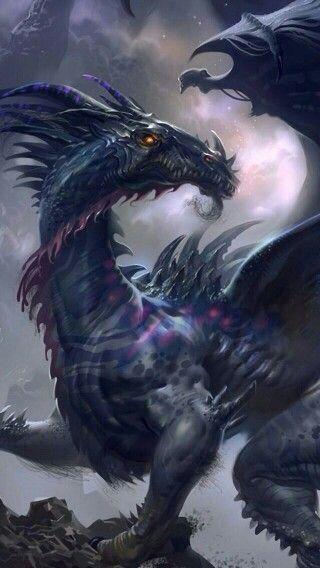dragon dark blue cool dragons mythical pinterest dragon
