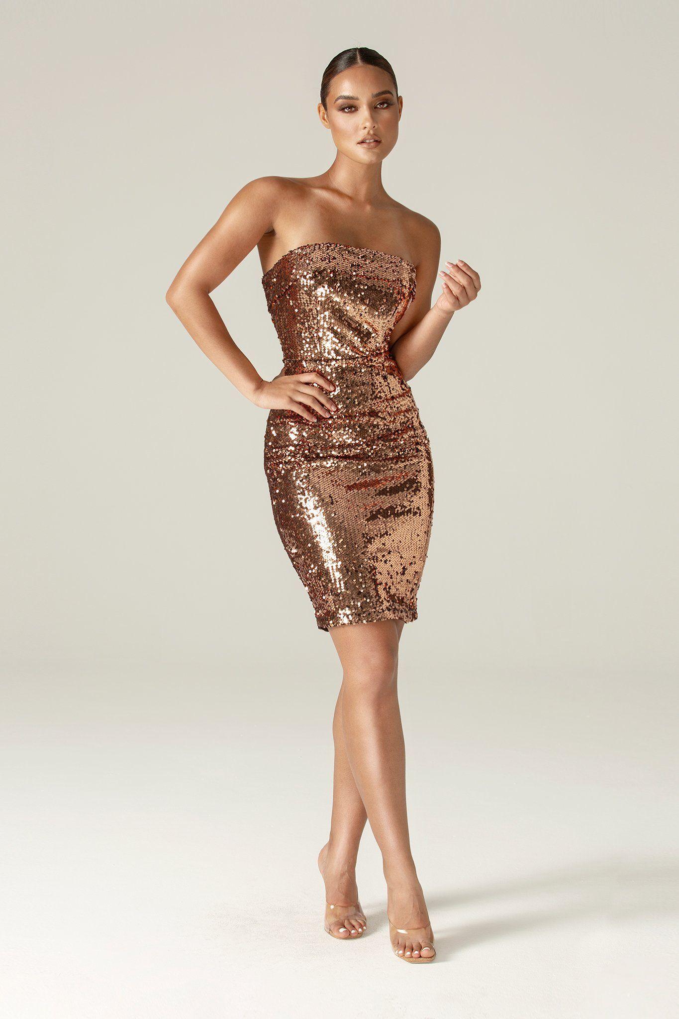 Anna Sequin Dress Copper   Dresses, White bandage dress, Sequin ...