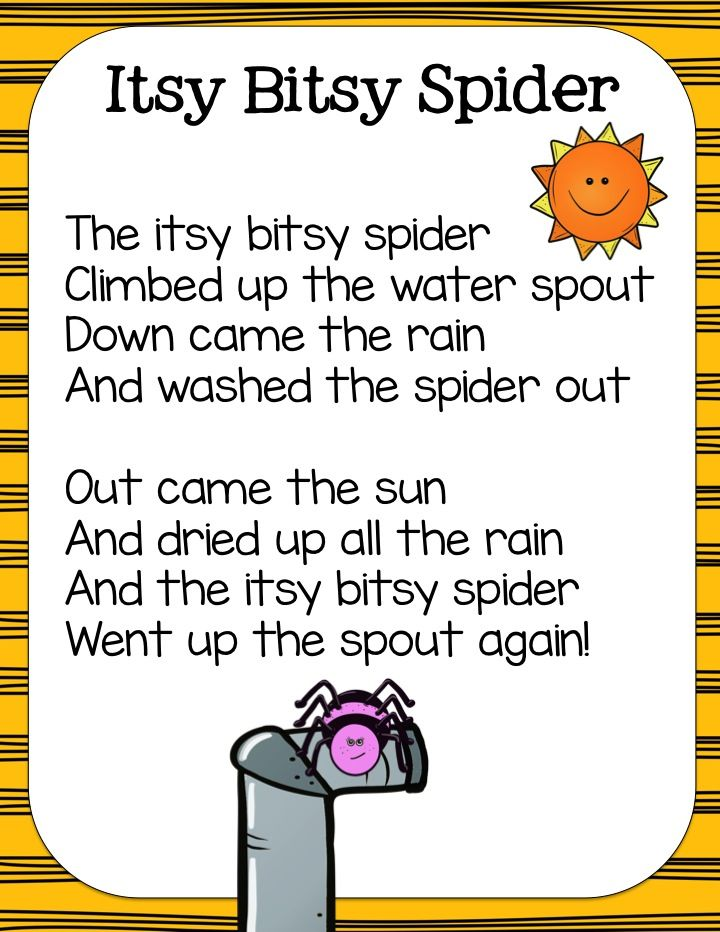 itsy bitsy spider activities  pocket chart cards  color