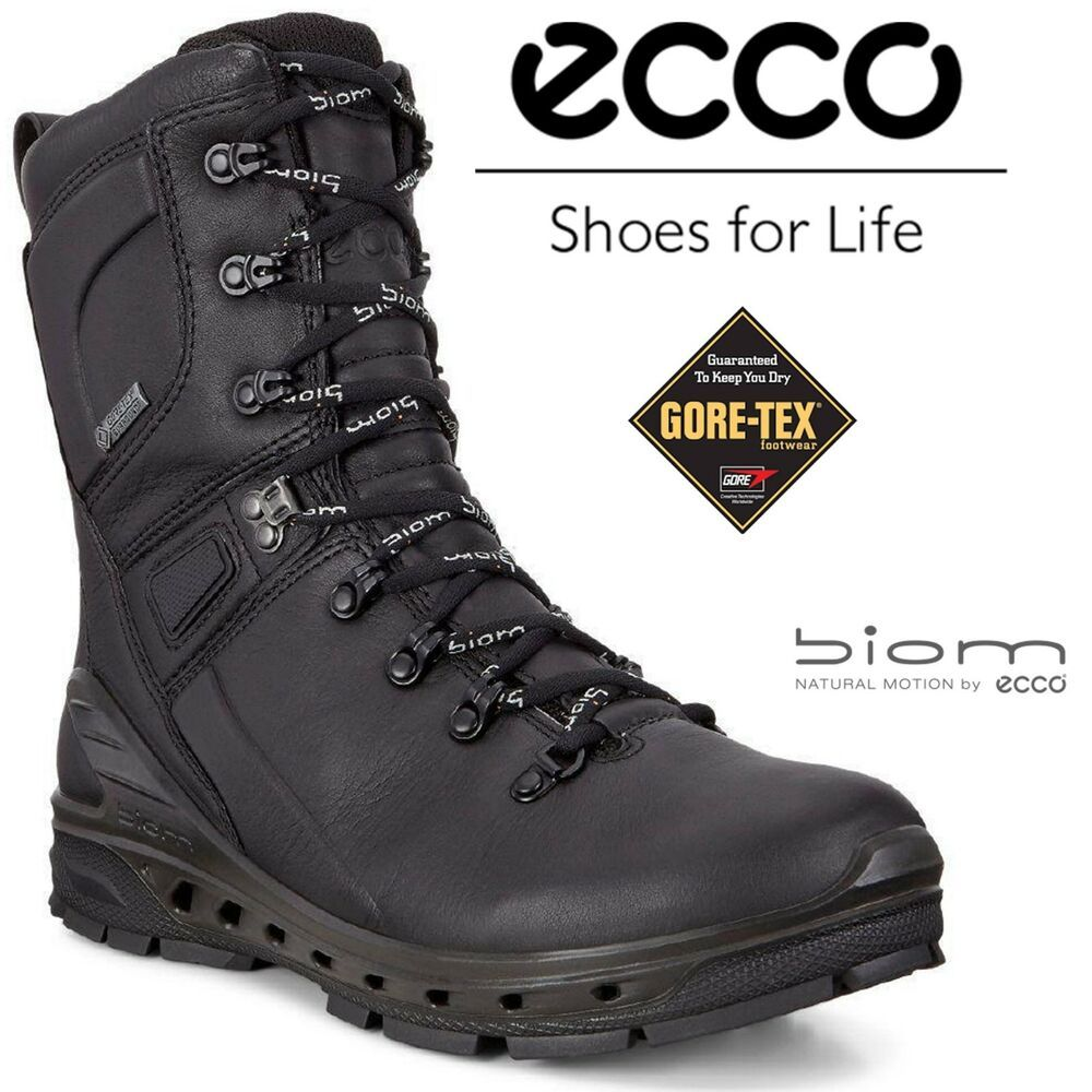 Ecco Biom Venture Black Goretex Leather Warmlining Hydromax Outdoor Hiking Boots Ecco Hikingtrail Ecco Boots Tactical Boots Boots