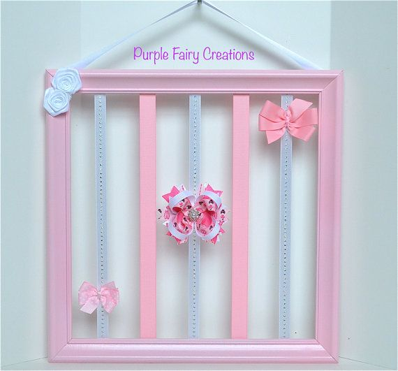 Upcycled Accessories Organizer Picture Frame Baby Pink White