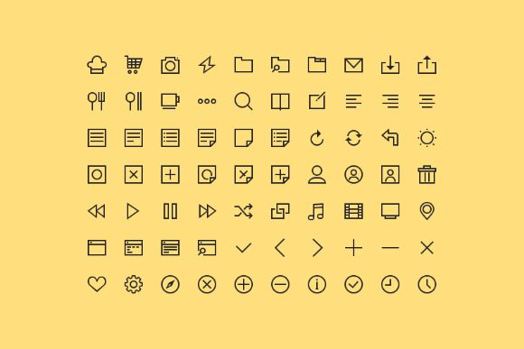 These are 70 Free simple line icons in 32px size Most of them looks