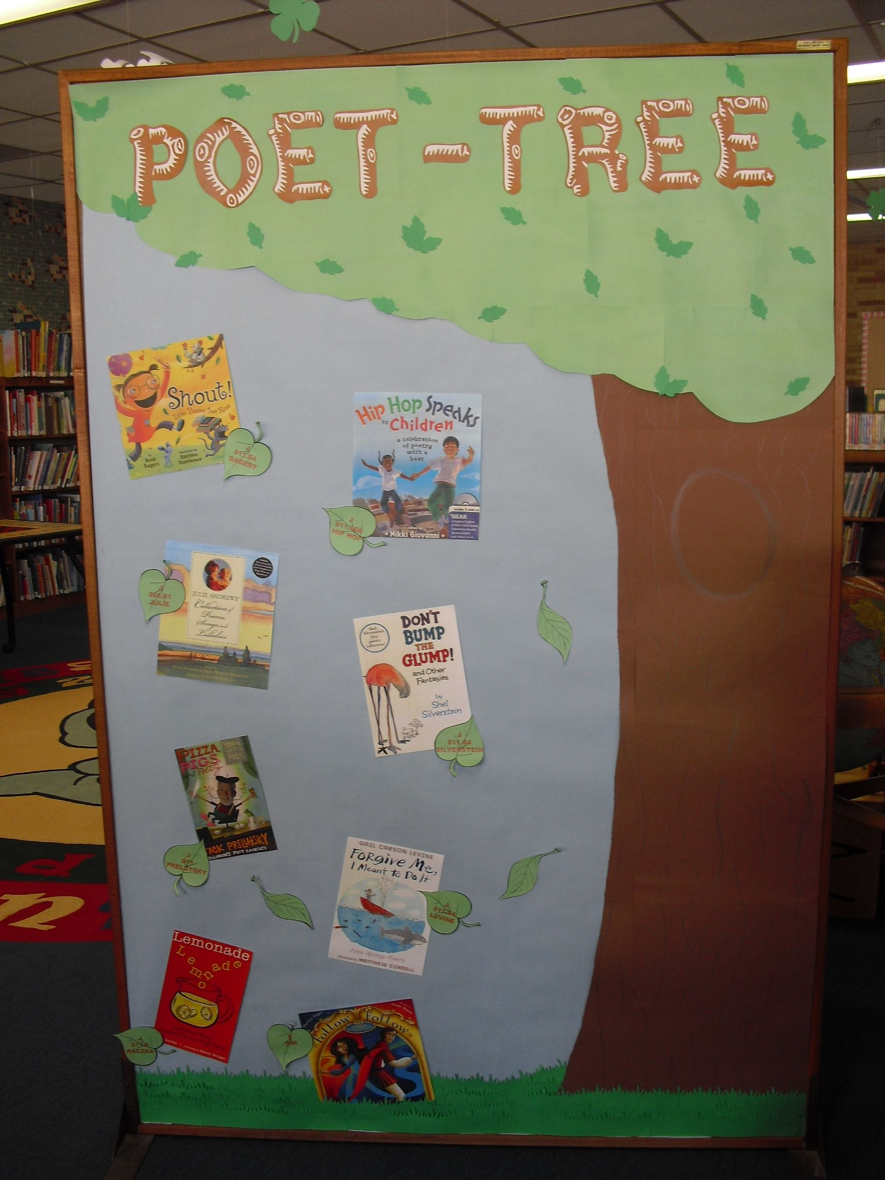 Bulletin Board April Is National Poetry Month Poet Tree Earth Day Poetry School Library Decor Bulletin Board Tree School Themes
