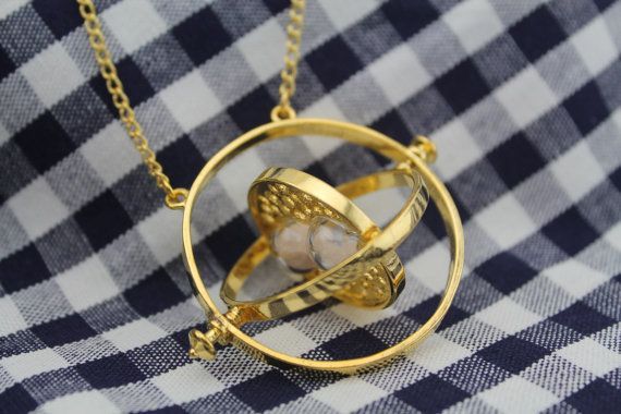 Time Turner Necklace Hermione Granger Rotating Spins Gold Hourglass via Etsy