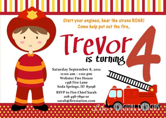 Fireman Birthday Invitations Fire Truck Invitations Photo Option