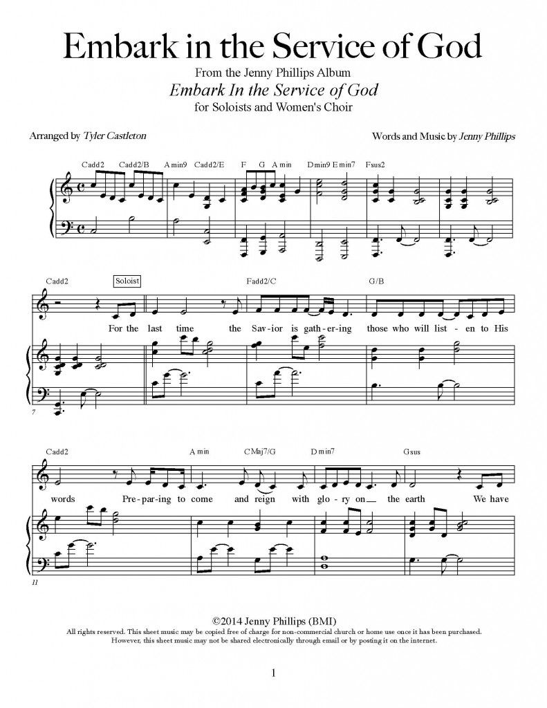 Embark in the Service of God – Sheet Music Download   Church   Young