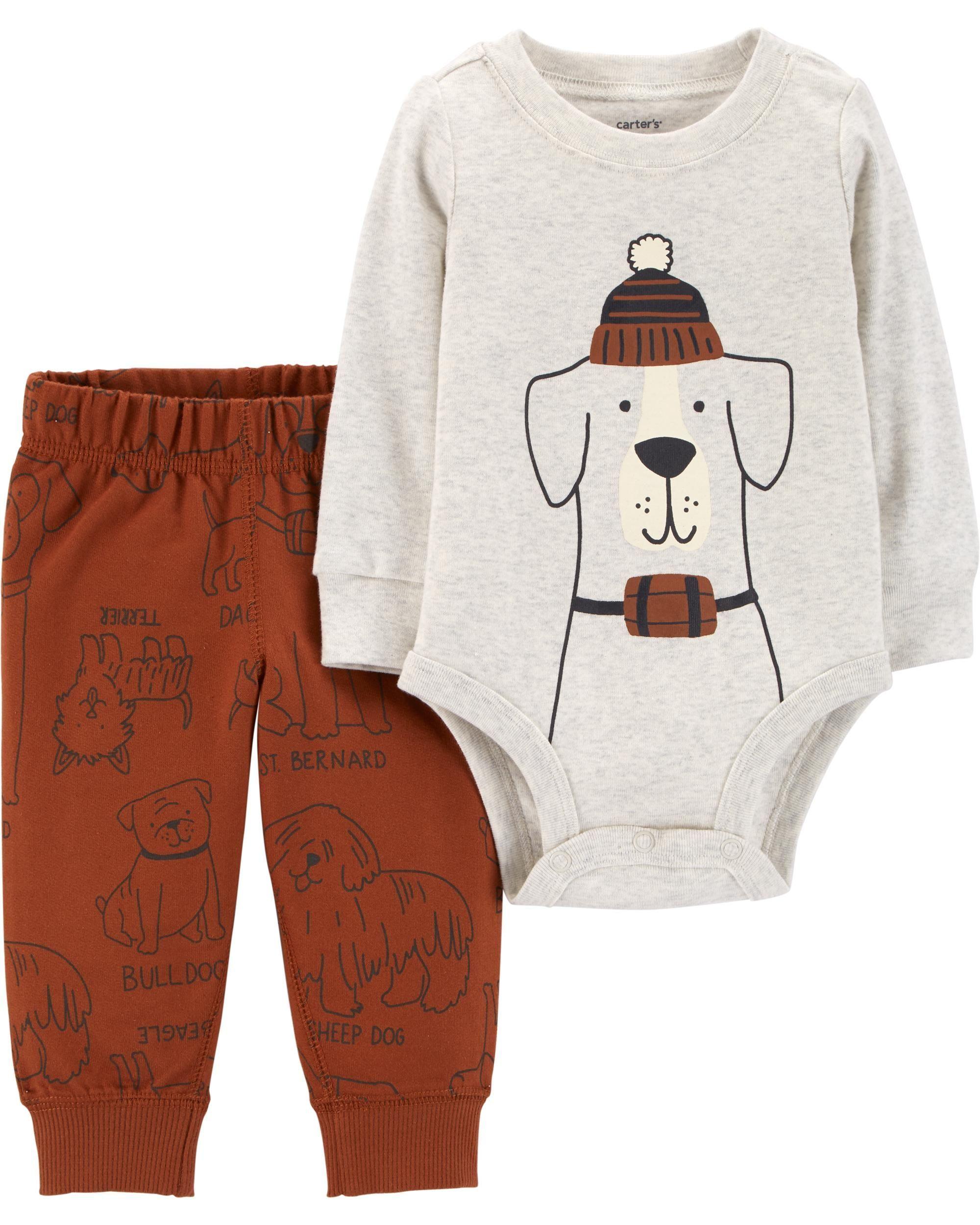 0e2961a9b67e2 2-Piece Dog Bodysuit Pant Set | Baby | Carters baby boys, Baby boy ...