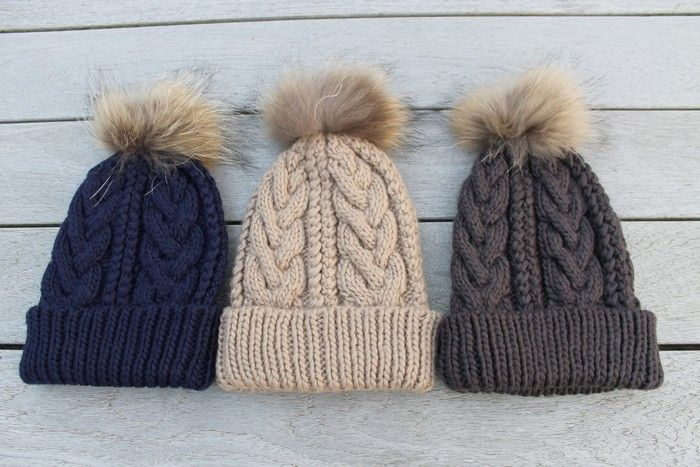 cb848b66f0b2d Gorgeous Cable Knit Fur Pom Pom Hat in Taupe