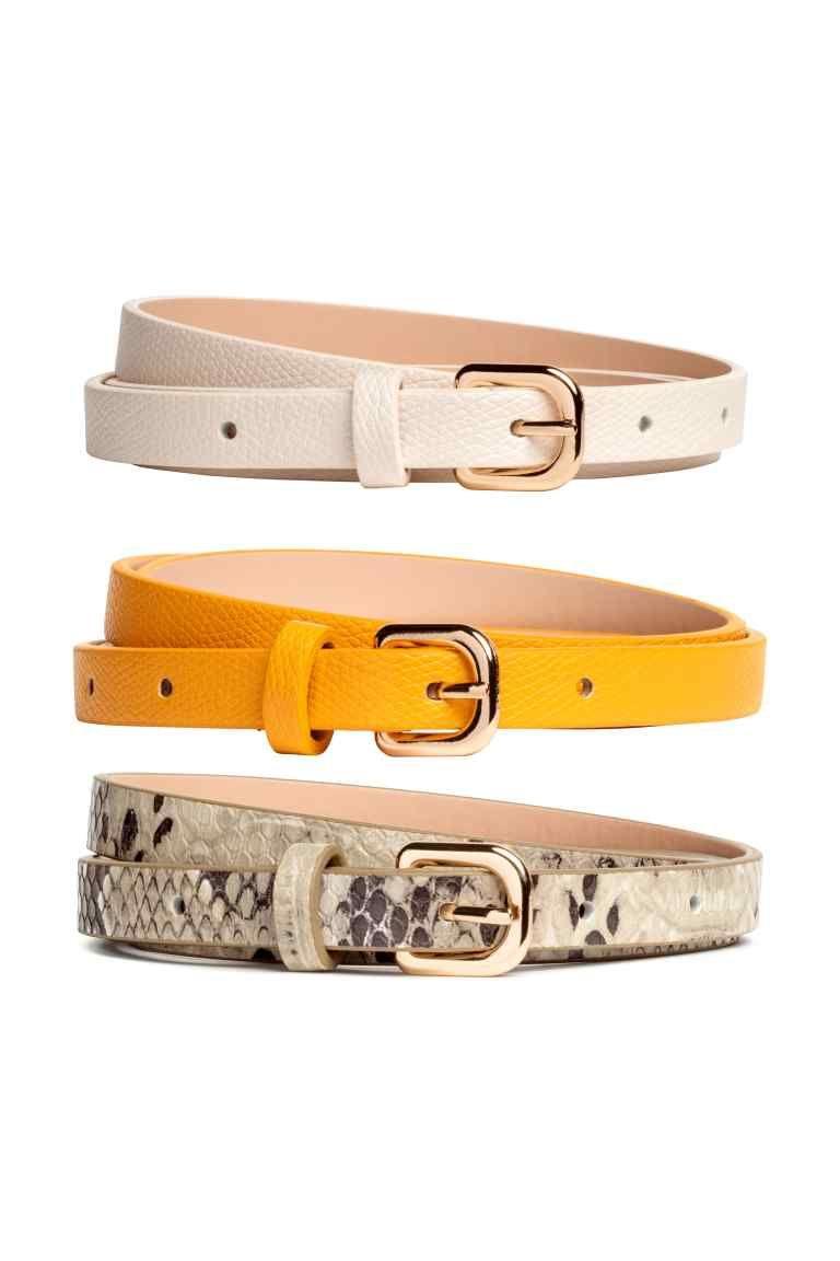Pack de 3 cinturones finos - Amarillo - MUJER  197c7cec05c0