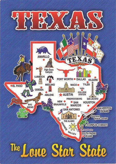 Texas Map Card Timbres Carteles De Viajes Mapas De