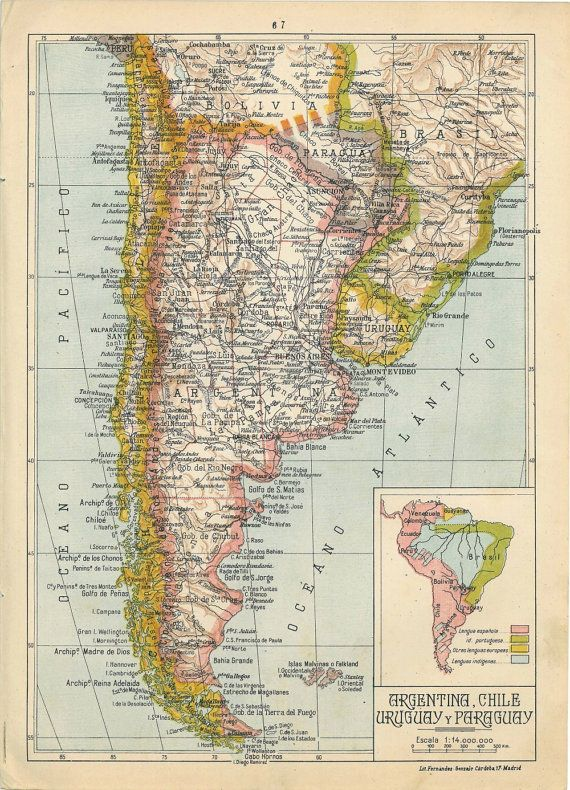 1942 Physical Map of Argentina Chile Uruguay and Paraguay | maps ...