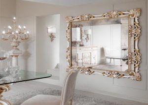 White Ornate Bathroom Mirror