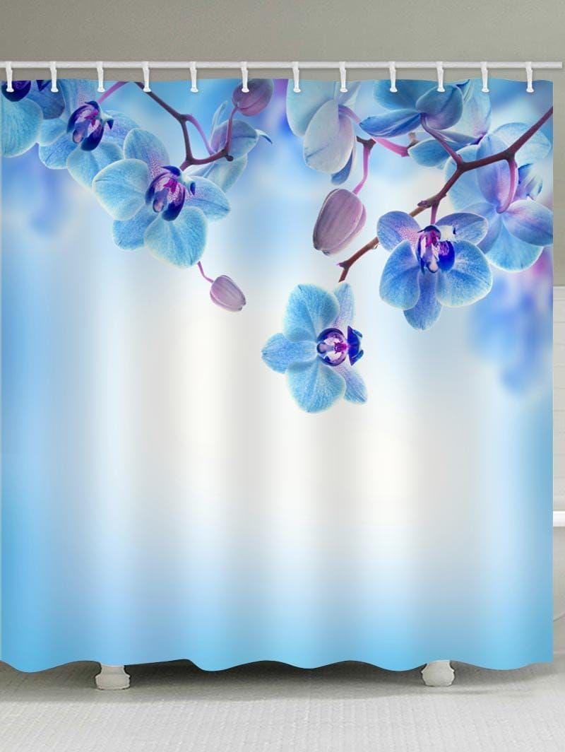 Phalaenopsis Flower Printed Waterproof Shower Curtain - LAVENDER ...