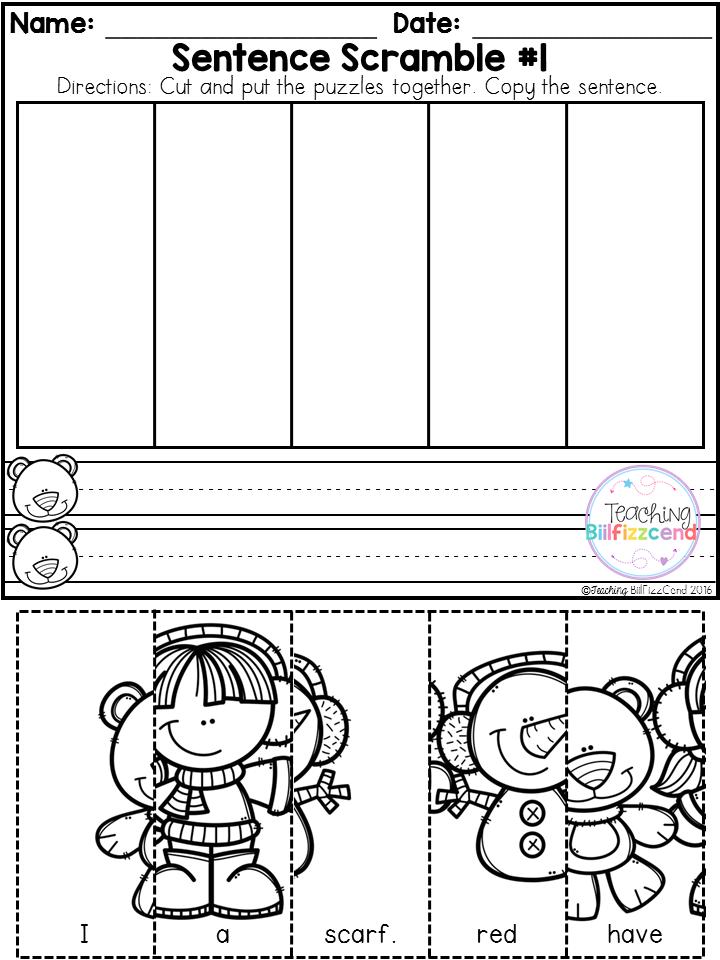 Free Kindergarten Sentence Building (Winter Edition) | Kinder Board ...