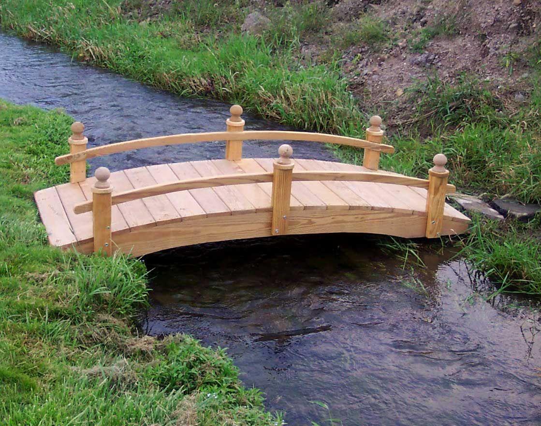Treated Pine Amelia Single Rail Garden Bridge Full Side View Of