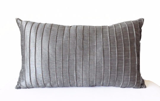 Decorative Accent Pillow Cover Grey Silk Pleated Textured Lumbar