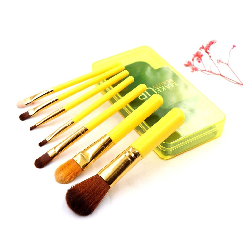 7 Stück Make-Up Pinsel Set Hohe Qualität Foundation Pulver Lidschatten Pinsel mit Kunststoff Boxed Kosmetische Schönheit Werkzeug Kit Hot – yellow,vereinigte-staaten