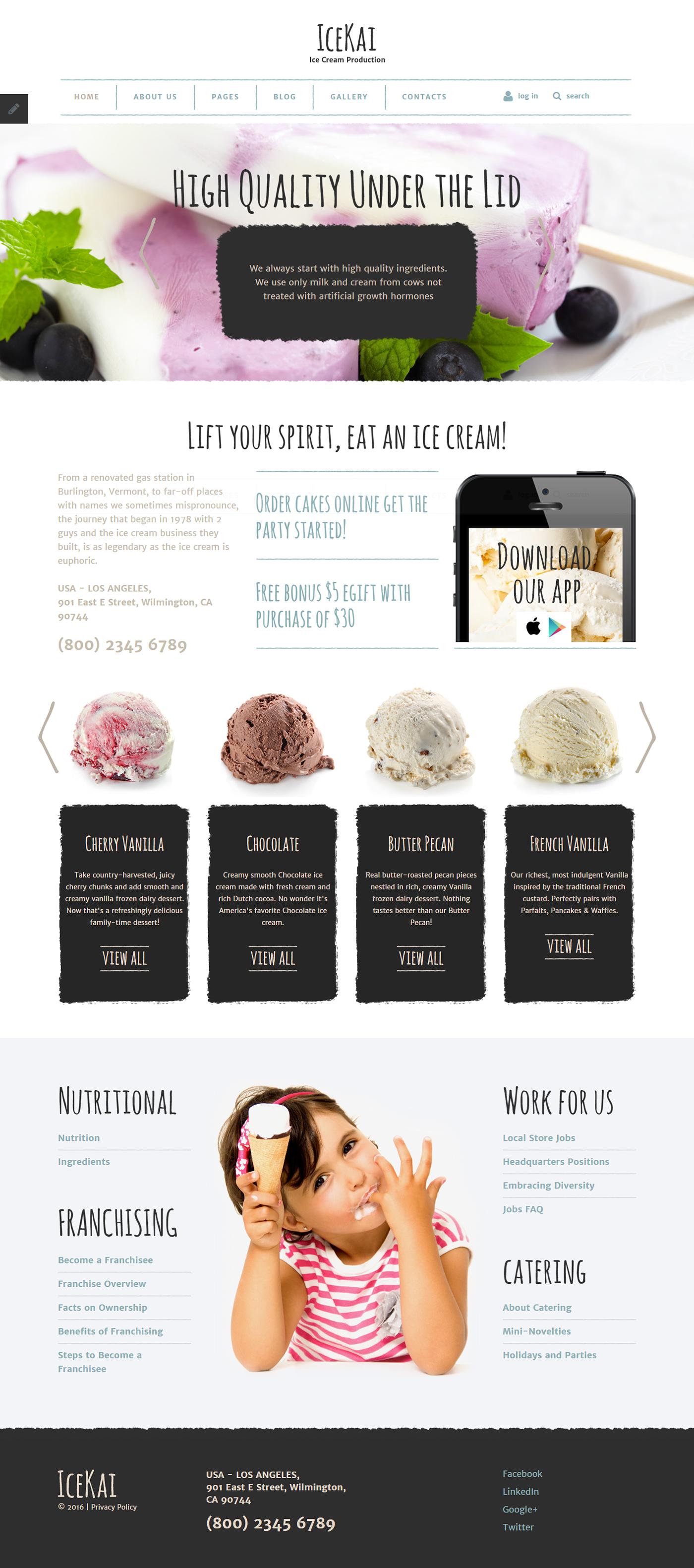 Ice Cream Joomla Template on Behance | Joomla Templates ...