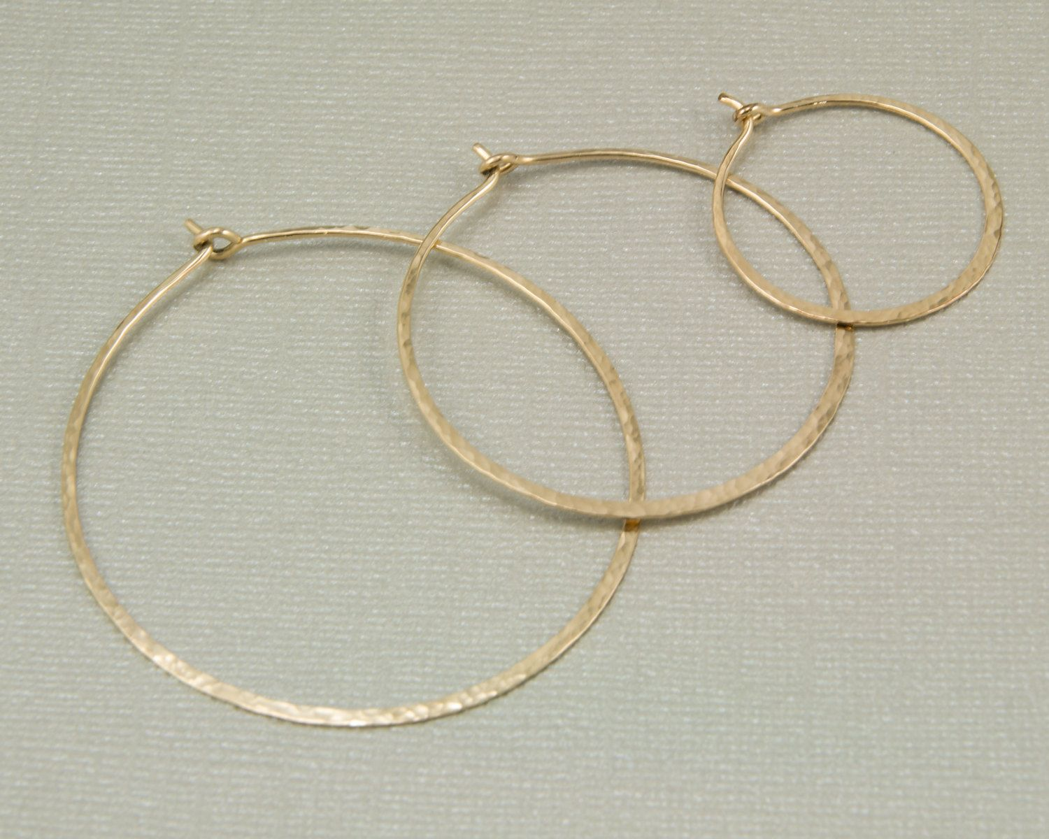 Thin Gold Hoop Earrings 14kt Filled Hoops Small Medium Large Hammered