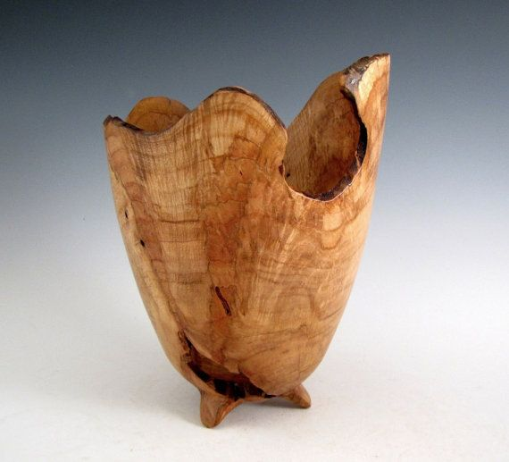 Artistic Natural Bark Edge Maple Burl Wood Turned by JLWoodTurning