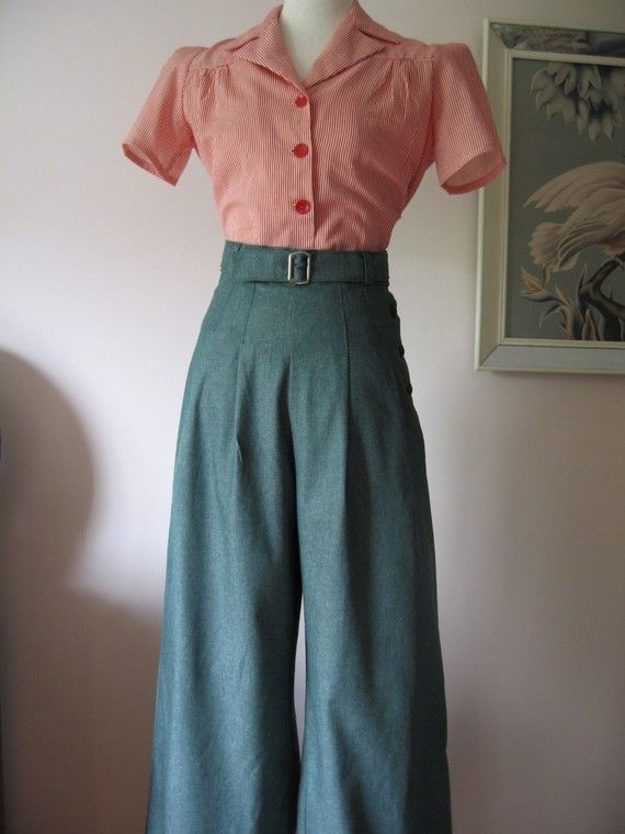 Women S 1940s Pants Styles History And Buying Guide: 1930's/1940's Vintage Style Green Denim By