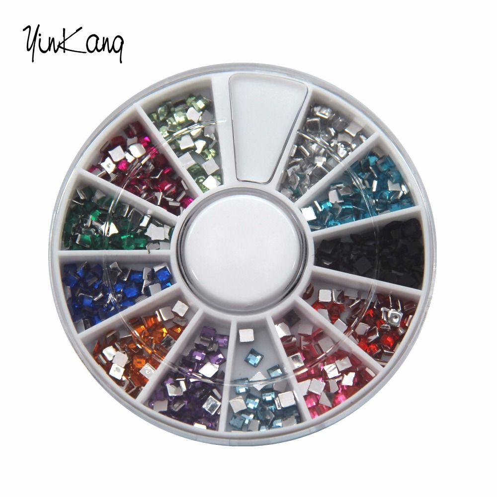 12 Farben 3D Quadrat 3mm nagel-dekoration-nagel-kunst Flatback ...